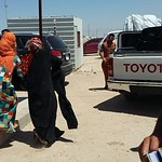 Newly arrived Iraqis from the outskirts of Fallujah on early Thursday morning, 26 May 2016, being received by NRC staff. Photo: NRC