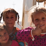Displaced Iraqi girls standing at NRC?s School Support Centre entrance in Debaga Camp. NRC is providing educational and psychosocial activities to around 1,800 displaced Iraqi children at  ...