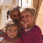 Afrah (3), Saha (6) and Nahla (5) Displaced Iraqi girls standing at NRC?s School Support Centre entrance in Debaga Camp. NRC is providing educational and psychosocial activities to around ...